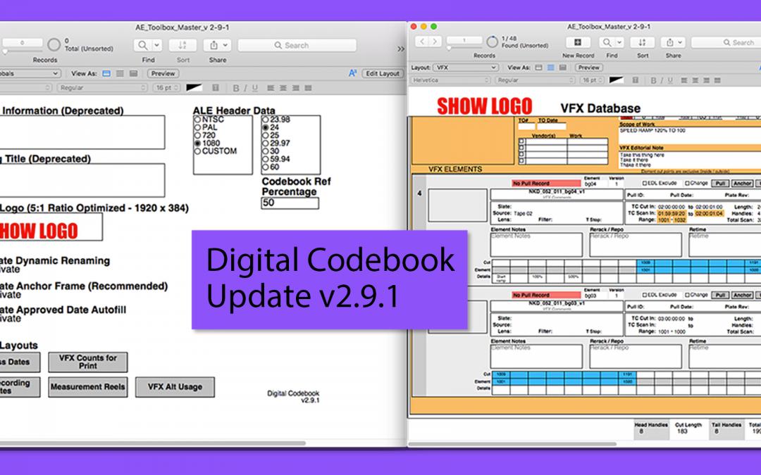 Digital Codebook Update v2.9.1
